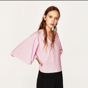 Zara - light pink flared sleeve open back blouse